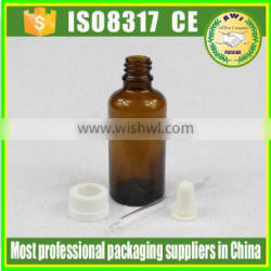 30ml Amber e-liquid dropper glass bottle with childproof cap