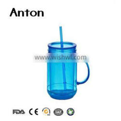 Bulk fancy blue glass mason jar with lid and handles