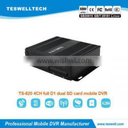 Teswell HDD/GPS/GSM/GPRS /wifi/3g realtime recording 4ch Mobile DVR car dvr