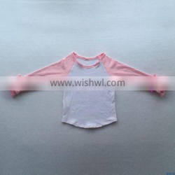 boutique children's long sleeve shirt ruffle raglan design baby girls pink t shirt wholesale kids 100% cotton clothes