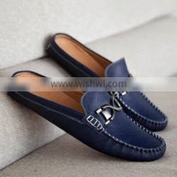 Open collar handmade genuine casual shoes for men