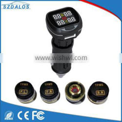Easy to install cigarette plug dispaly 433.92 mhz tire pressure sensor monitor tpms