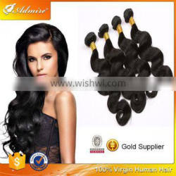 Curly hair natural color 3 piece full head body wave mega hair weaving bundles for African women