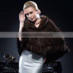 2016/2017 New Product Natural Knitted Mink Fur Poncho for Fashion Ladies with Cheap Price