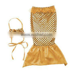 2016 children summer outfit mermaid birthday outfit gold top and mermaid tail