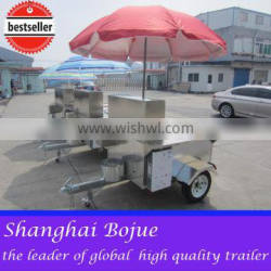 2015 hot sales best quality movable hot dog cart hot dog cart with ramp door humburger hot dog cart