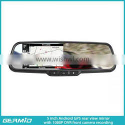 High Quality Android 5.0 inch multi-function car dvr rearview mirror gps