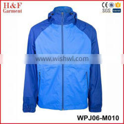 Waterproof windbreakers nylon jackets wholesale blue waterproof jacket with mesh lining