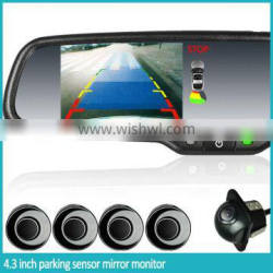 4.3 inch interior car parking sensor Rearview monitor with 4 replaceable detectors