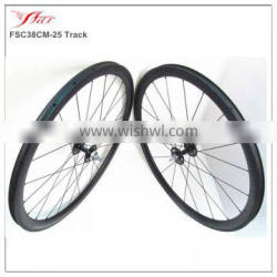 Cheap Chinese carbon track wheels 38mm x 25mm clincher UD Matte with Novatec single speed hub, bicycle carbon wheelset for track