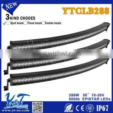 brand-new item 12v 50inch 288w curved led light bar 4x4 spot flood combo for Car Accessory
