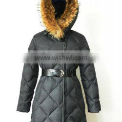 womens winter puffy quilted long down coats with fur hood