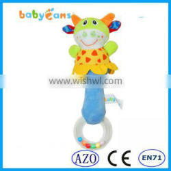 Babyfans Hand Bell China Cheap Wholesale Plush Cow Shape Rattle Toys Baby