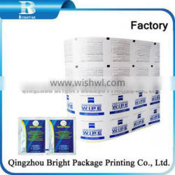 Best quality low price aluminum foil laminated paper packing lens wipes, Aluminum Foil Wrapping Paper cleaning wipes