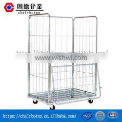 Industrial Use Flexible Application Wire Mesh Pallet Rolling Cages for Storage