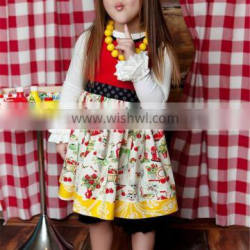 wholesale cute children boutique dress for fall little gril polka dot floral ruffle
