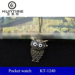 Cheap vintage OWL copper pocket watch with long necklace chain
