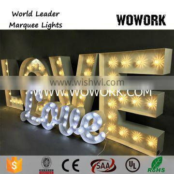 Wedding background big Love Marquee light letters Bulb light