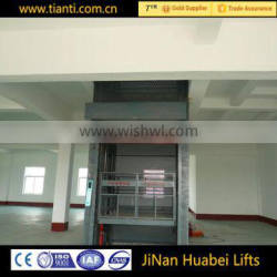 gold supplier stationary wall mounted hydraulic warehouse cargo elevator