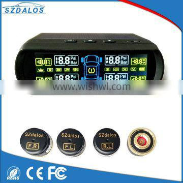 Solar power wireless tire pressure monitoring LCD display tpms with external sensors