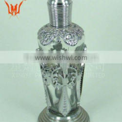 sillver flat oval plastic glass perfume bottle