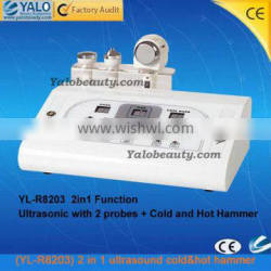 (YL-R8203) 2 in 1 cold&hot hammer beauty RF portable ultrasound massager