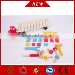kids wooden tool truck with 8 wheels