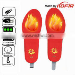 12 hours long working wireless rechargeable heated insole with remote control
