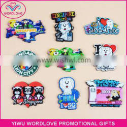 Cheap Custom 3D Singapore Tourist Souvenir Soft PVC Fridge Magnets