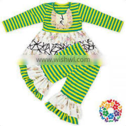 Apple Green Stripe Designs Children Outfit Little Girls Wholesale Boutique Clothing Set Cheap Baby Girls 2 Pcs Outfits