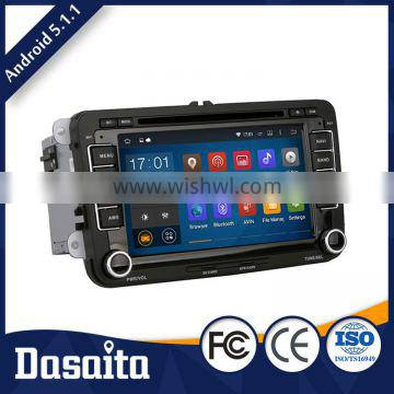 Cheap Pure Android 5.1.1 OS touch screen car dvd player with GPS for VW skoda