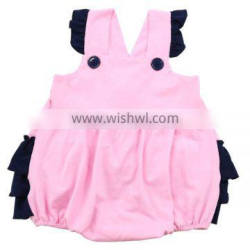 2016 baby clothes onesie romper summer boys and girls infant pink cute ruffle baby cotton romper wholesale girls bubble romper