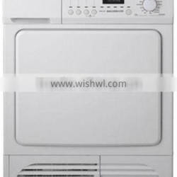 Wall mounted electronic control condenser clothes dryer with front lint filter