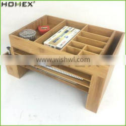 Bamboo Desk Organizer Office Supply Caddy Drawer with Pen Holder Homex-BSCI Factory
