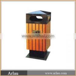 Outdoor Trash can/ wooden and metal garbage dustbin for sale