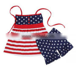 2016 Wholesale newborn stars and stripe patriotic fancy cotton ruffle girls summer clothes girls 4th of July outfits