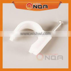 Plastic Flat Cricle Shape Cable Clips With Steel Nail Cable Holder Clip 8mm