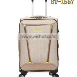 Khaki 1200D fabric trolley case with spiral wheels push button trolley