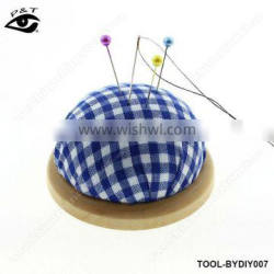 DIY tools sewing accessories blue checker pin cushion