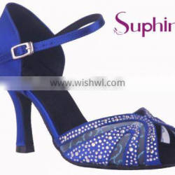 blue crystal popular hot sale beautiful and comfortable ladies latin salsa dance shoes
