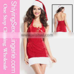 Festive Lace up Mrs Claus Dress Women Sexy Slimming Christmas Costume
