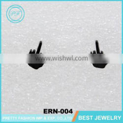 Fashion Punk Cool Black Stainless Steel Mens Ear Jewelry Hand Studs Earring