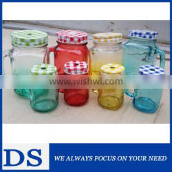 500ml colorful painted mason jar with decorative tinplate lid and straw