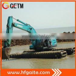 Amphibious excavator for water reservation