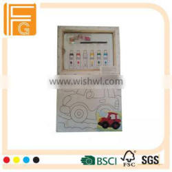 hot sale cotton wooden canvas set for children with acrylic pain