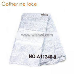Catherine Summer White Color Embroidered Big Fabric French Lace