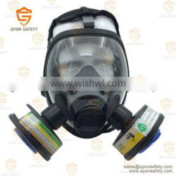 Spherical full face gas mask with single/double connector with no allergy silicon material and anti fog lens-Ayonsafety