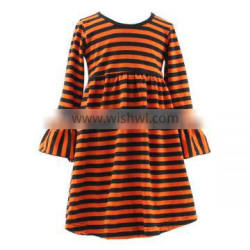 High quality kids halloween dress kids halloween baby boutique dress fashion baby girls orange long sleeve cotton dresses