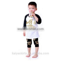 Naughty boys boutique tiger printed 2 pcs 3/4 sleeves top and pant sets clothing manufacturers 2016 for kids