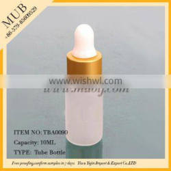Empty 10ml clear frosted glass essential oil bottles with gold aluminum dropper